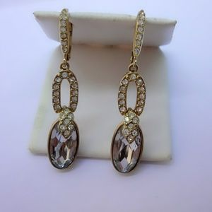 Givenchy Rose Crystal Dangle Drop Earrings